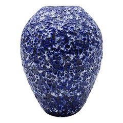 Very Rare Awesome Huge Blue and White Fat Lava Vase by ES Keramik, Germany 1950s
