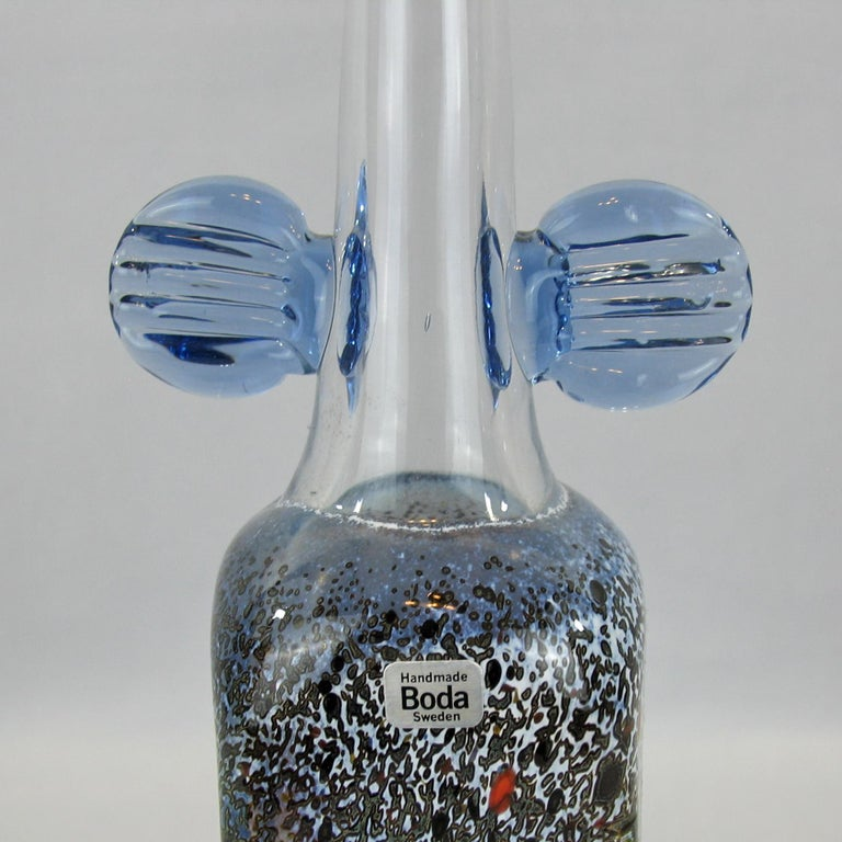 Late 20th Century Very Rare Bertil Vallien Atelje Glass Vase, Sweden, 1970s For Sale