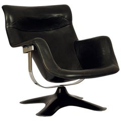 Very Rare Black Midcentury Karuselli Chair by Yrjö Kukkapuro for Haimi, 1960s