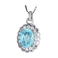 Very Rare Brazilian Neon Blue Paraiba Tourmaline Diamond Necklace 18k White Gold