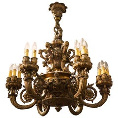 Very Rare Bronze Chandelier 6-Arm, circa 1900