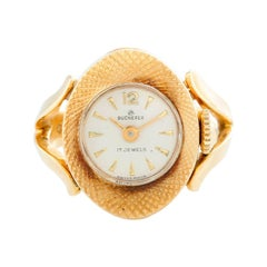 Very Rare Bucherer 18 Karat Yellow Gold Ring Watch