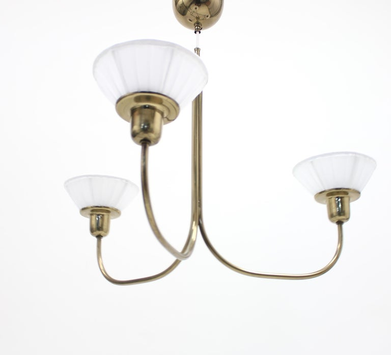 Very rare ceiling light, model 2558, designed by Josef Frank for Svenskt Tenn in 1954. Most likely the only known example in existence today. The model is depicted in a 1954 photograph in a Svenskt Tenn sale catalog which depicts the model clearly