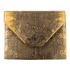 Very Rare Chanel 'Ombre' Lizard Evening Clutch/Shoulder Bag by Karl Lagerfeld