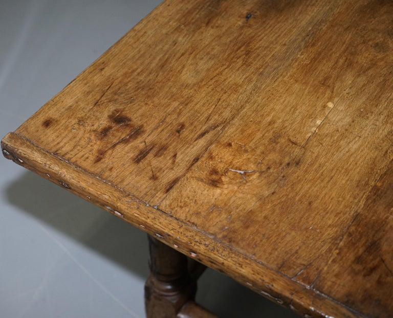 Very Rare Charles I 1630 Oak Refectory Dining Hall Table, Plaish Hall Shropshire For Sale 3