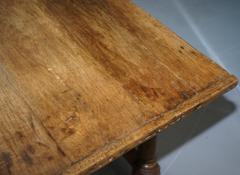 Very Rare Charles I 1630 Oak Refectory Dining Hall Table, Plaish Hall Shropshire For Sale 4