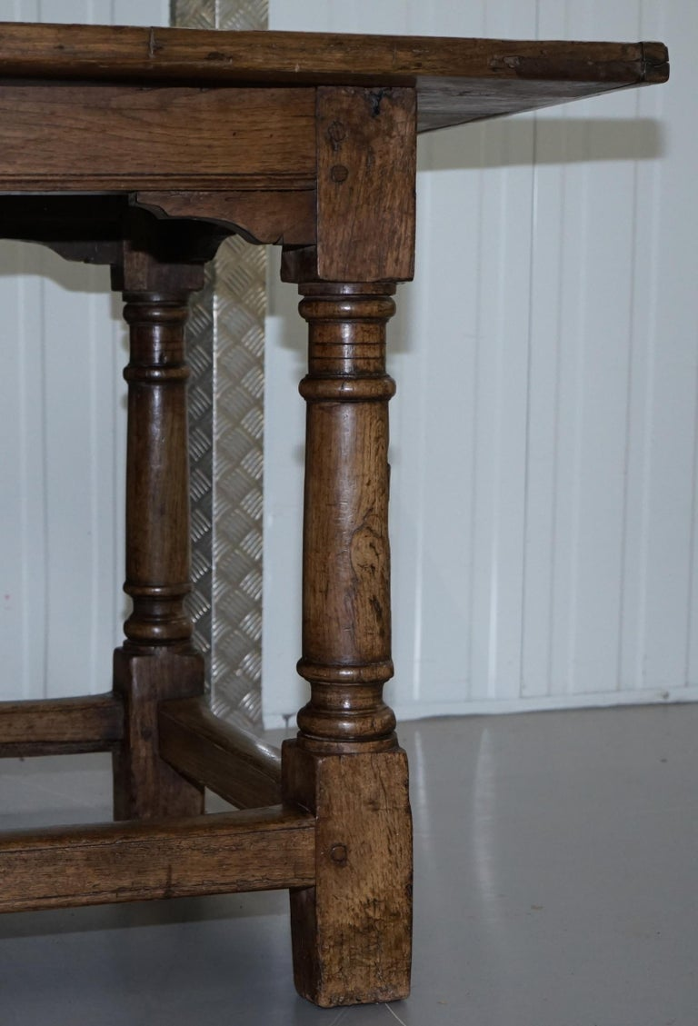 Very Rare Charles I 1630 Oak Refectory Dining Hall Table, Plaish Hall Shropshire For Sale 5