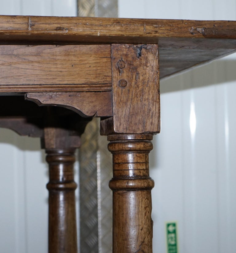 Very Rare Charles I 1630 Oak Refectory Dining Hall Table, Plaish Hall Shropshire For Sale 6