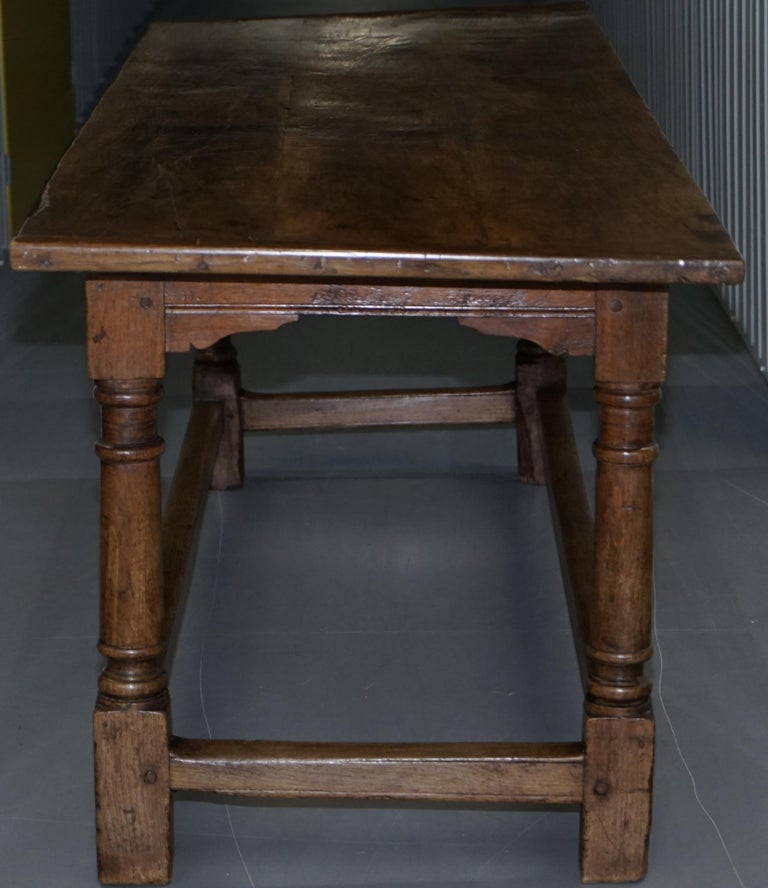 Very Rare Charles I 1630 Oak Refectory Dining Hall Table, Plaish Hall Shropshire For Sale 7