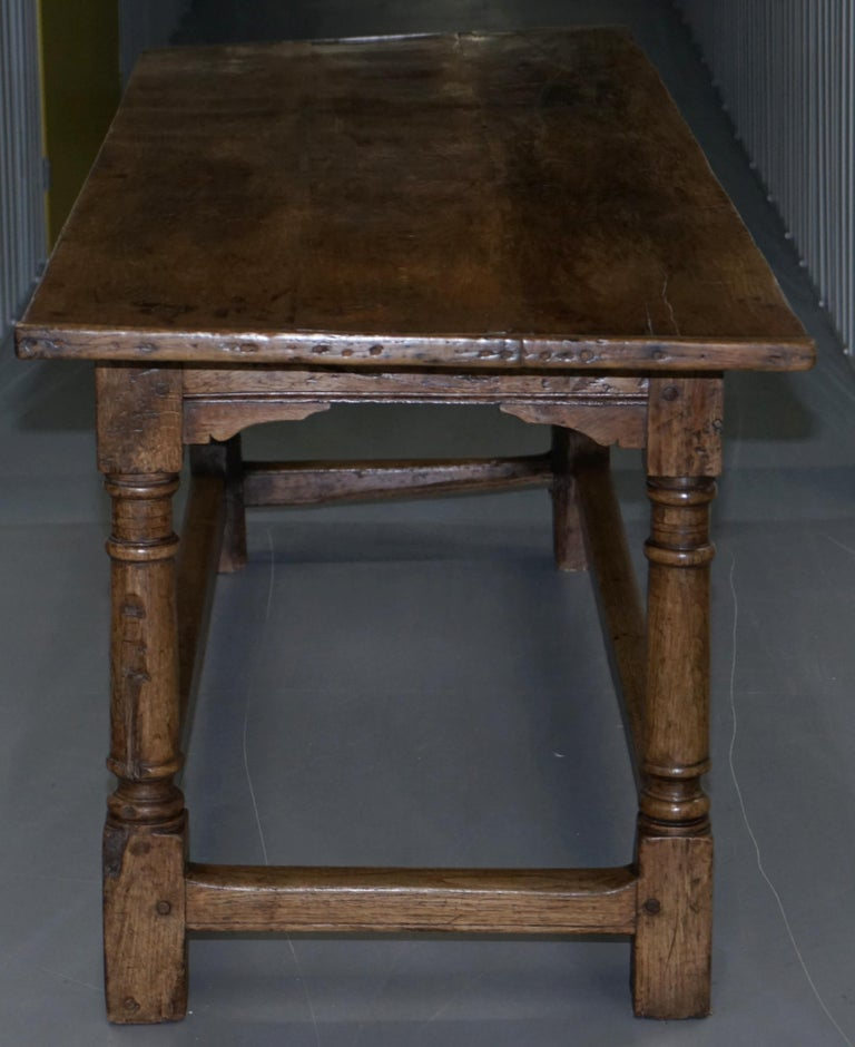 Very Rare Charles I 1630 Oak Refectory Dining Hall Table, Plaish Hall Shropshire For Sale 9
