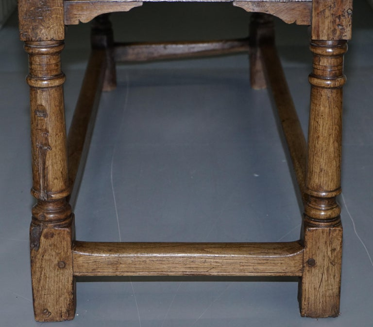 Very Rare Charles I 1630 Oak Refectory Dining Hall Table, Plaish Hall Shropshire For Sale 10