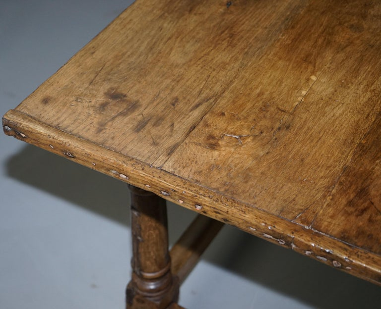Very Rare Charles I 1630 Oak Refectory Dining Hall Table, Plaish Hall Shropshire For Sale 12