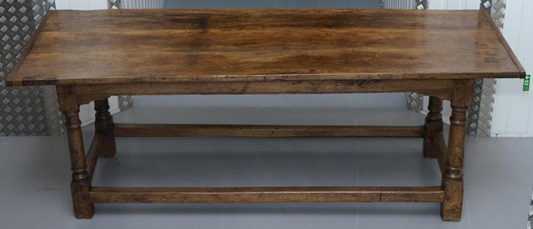 We are delighted to offer for sale this stunning Charles I 1630 solid oak hall or refectory table from Plaish hall Church Stretton Shropshire  A very good looking and well made refectory or hall table, it has a triple plank top with cleated ends,