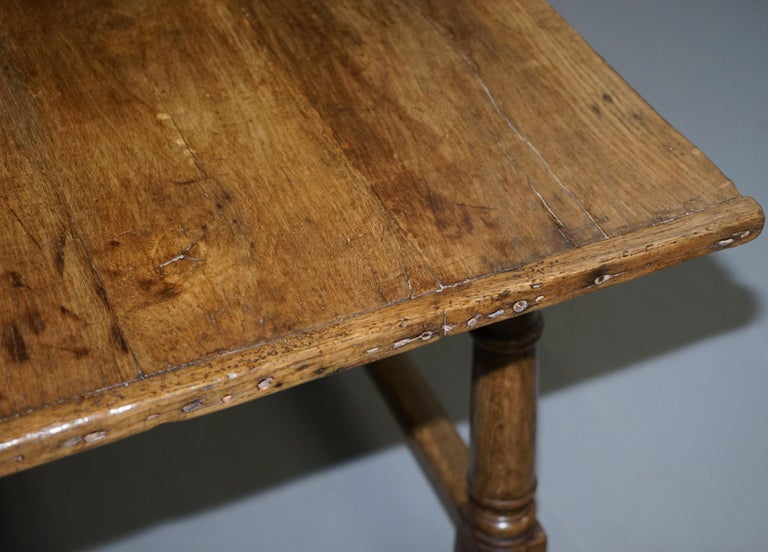 Very Rare Charles I 1630 Oak Refectory Dining Hall Table, Plaish Hall Shropshire For Sale 13