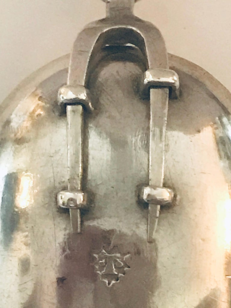 Cast Very Rare Charles II Combined Retractable Silver Spoon with Two-Tine Fork, 1692