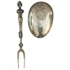 Very Rare Charles II Combined Retractable Silver Spoon with Two-Tine Fork, 1692