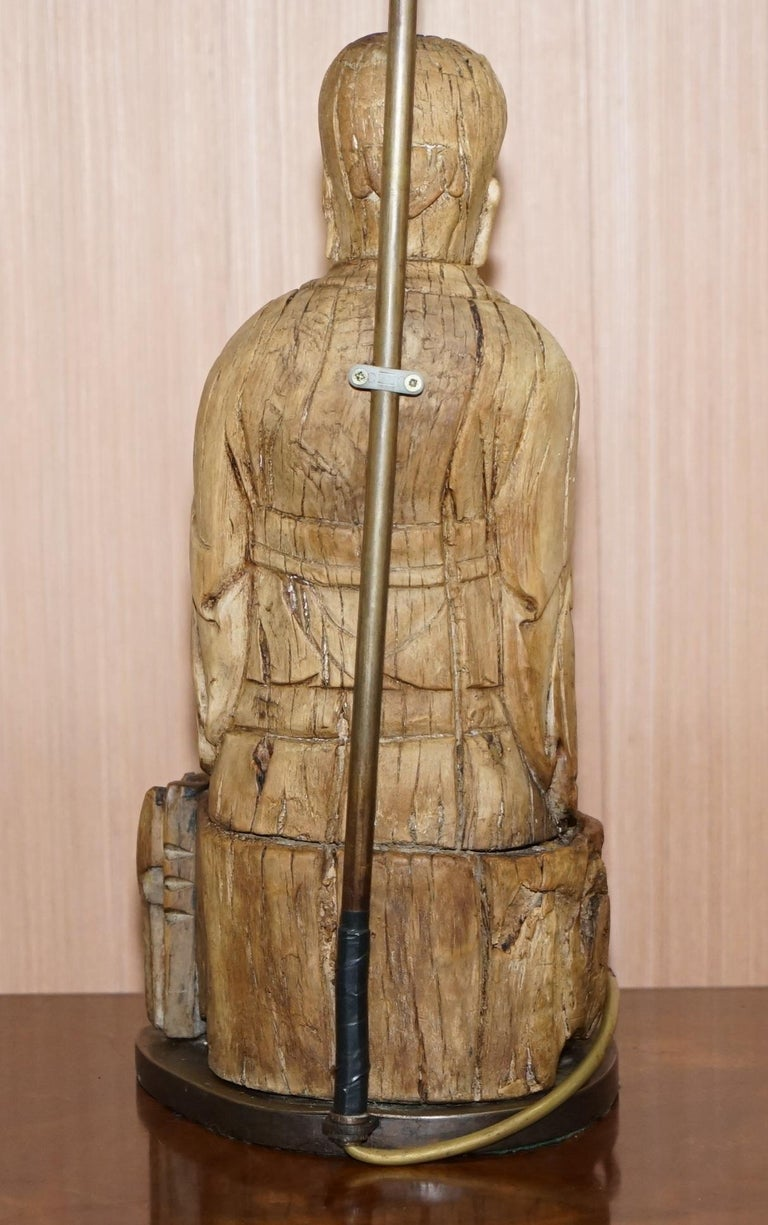Very Rare circa 1780-1800 Chinese Rootwood Carved Statue of Buddha Table Lamp For Sale 3