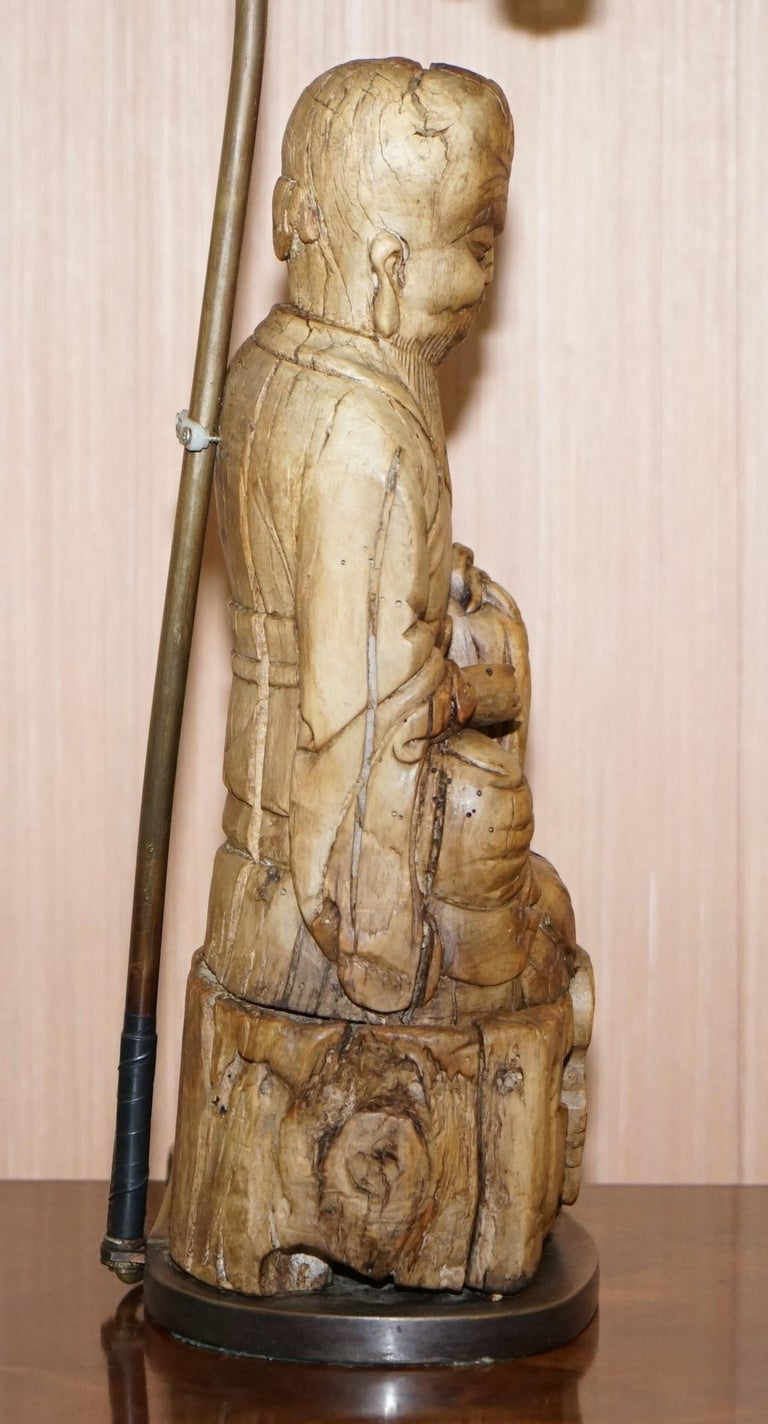 Very Rare circa 1780-1800 Chinese Rootwood Carved Statue of Buddha Table Lamp For Sale 4