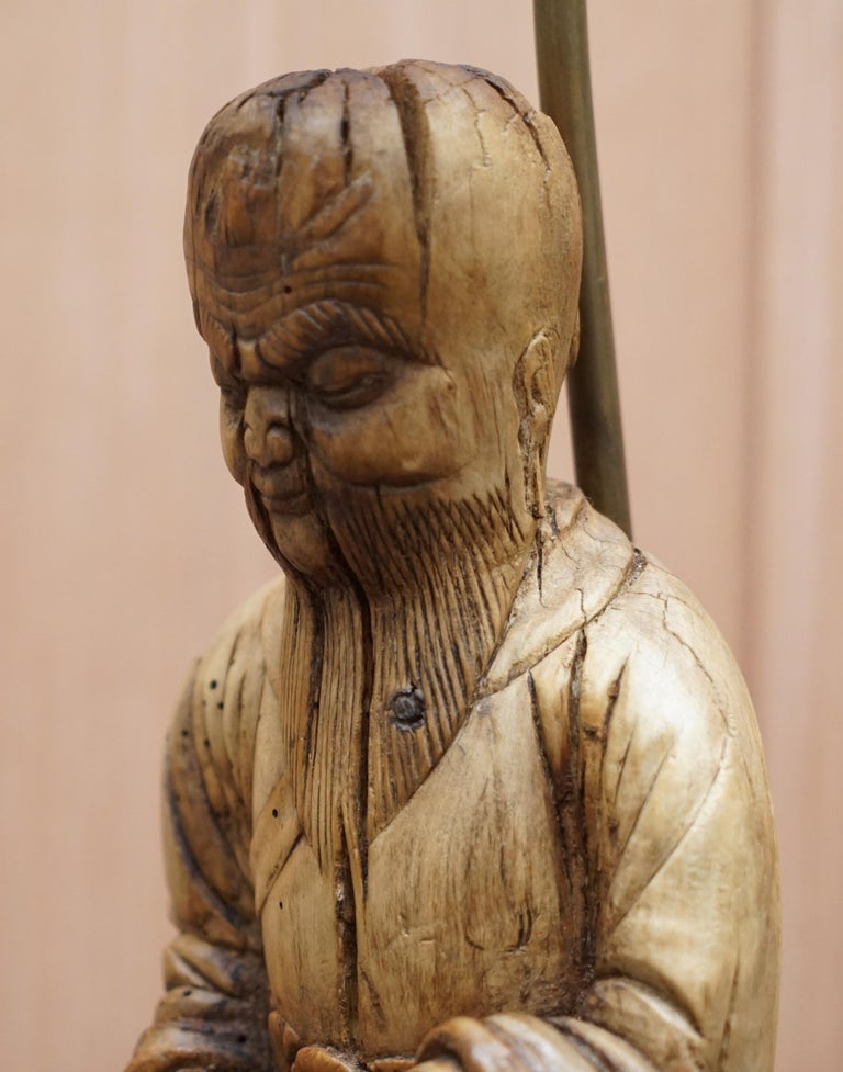 Very Rare circa 1780-1800 Chinese Rootwood Carved Statue of Buddha Table Lamp In Distressed Condition For Sale In London, GB