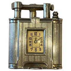 Very Rare circa 1920s Alfred Dunhill Unique Sterling Silver Time Piece Lighter