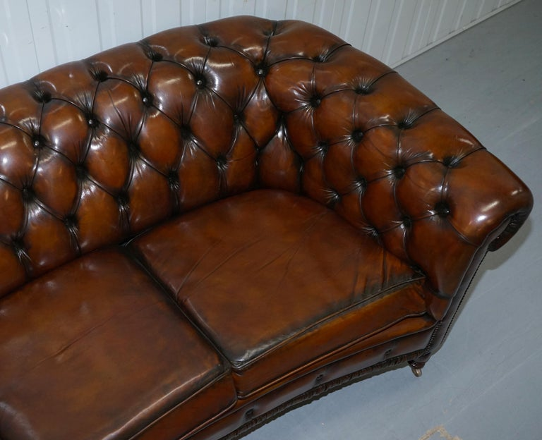 Mid-20th Century Very Rare Curved Front Fully Restored Cigar Brown Leather Chesterfield Club Sofa For Sale