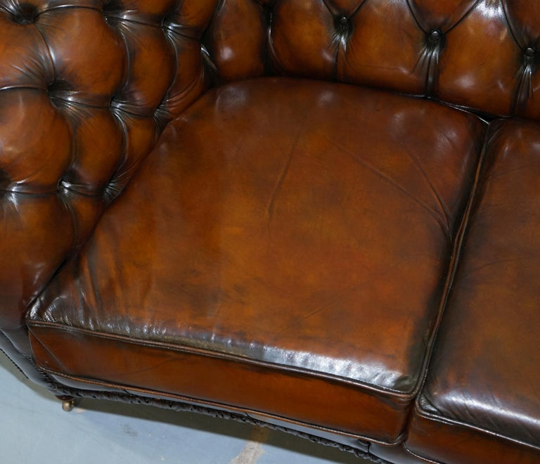 Very Rare Curved Front Fully Restored Cigar Brown Leather Chesterfield Club Sofa For Sale 1