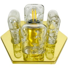 Very Rare Doria Midcentury Brass and Ice Glass Flush Mount, 1960s