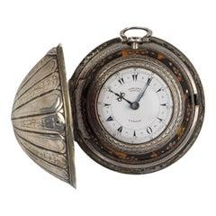 Very Rare Edward Prior Antique Silver Four Case Open Face Pocket Watch