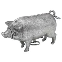 Very Rare Edwardian Sterling Silver 'Pig Bell' London 1904 by William Hornby