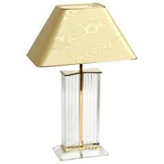 Very Rare Elegant Large Plexiglass Table Lamp from the 1970s with Silk Shade
