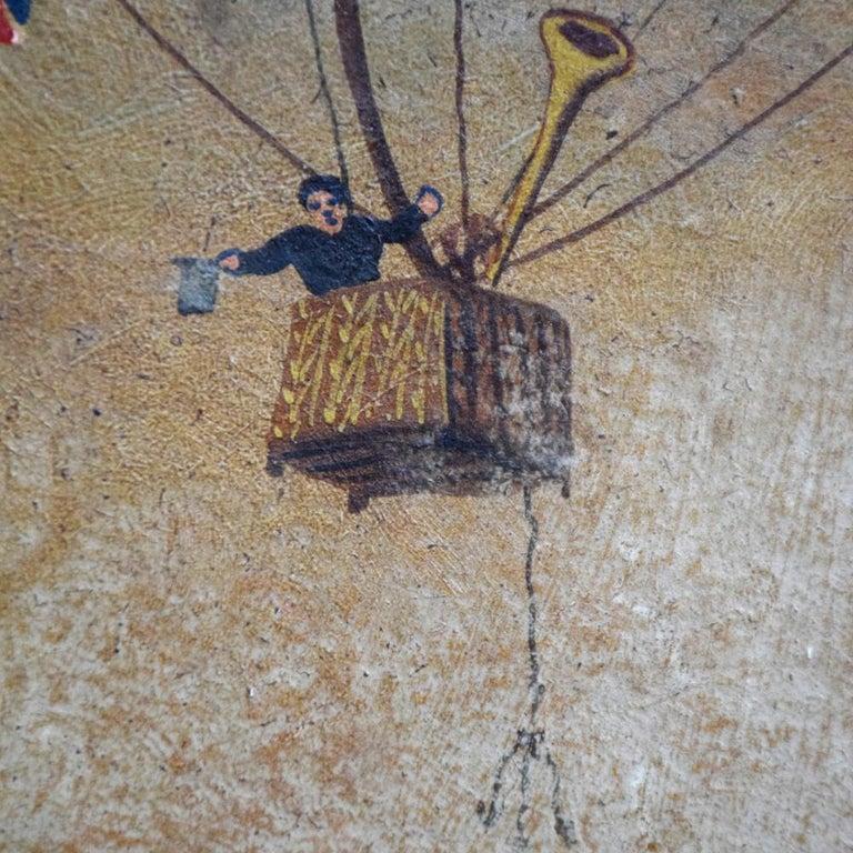 Very Rare English Folk Art Aviation Painting, circa 1860 For Sale 3