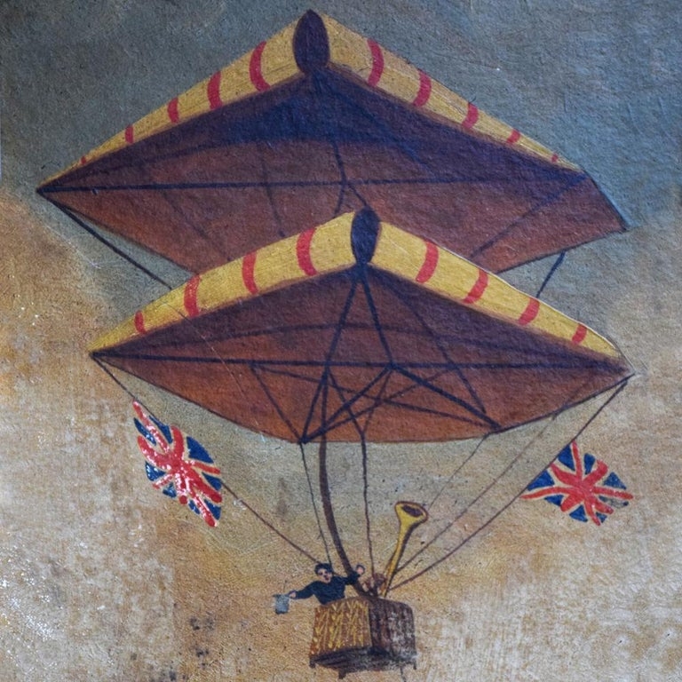 A unique circa 1890–1870 Folk Art aviation oil on paper painting, mounted to panel of prototype flying machine. Both an iconic and highly collectable example considering the age and subject matter. With faded characters at the base of painting