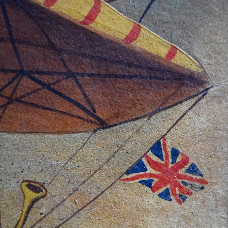 British Very Rare English Folk Art Aviation Painting, circa 1860 For Sale