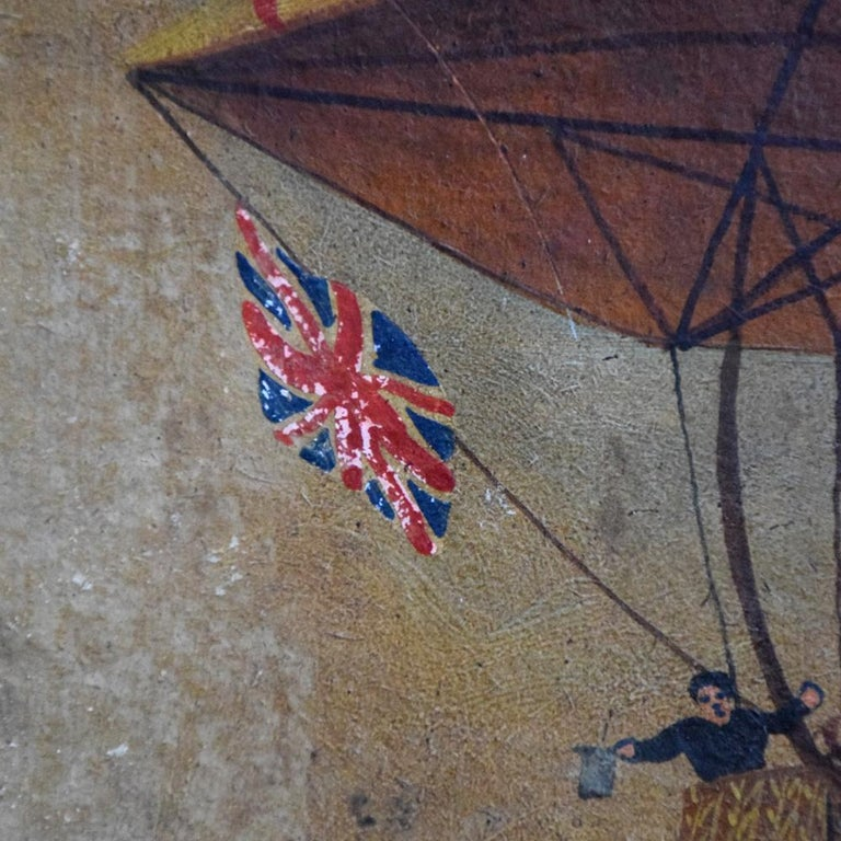 Hand-Crafted Very Rare English Folk Art Aviation Painting, circa 1860 For Sale
