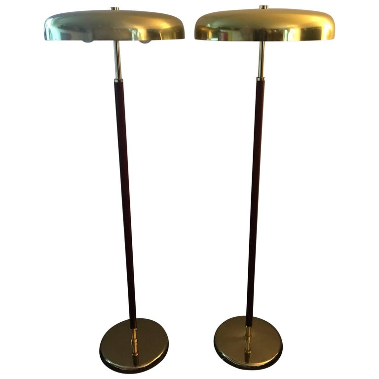 Very Rare Exclusive Swedish Brass and Leather Floor Lamp by Örsjö Industri AB
