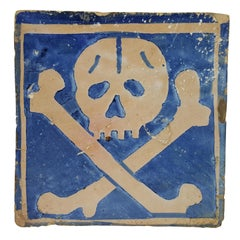 Very Rare French Earthenware Memento Mori Skull Paving Tile, circa 1530