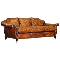 Very Rare Fully Restored Gentleman's Club Brown Leather Feather Filled Sofa