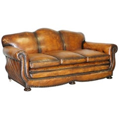 Very Rare Fully Restored Gentleman's Club Moustache Back Brown Leather Sofa