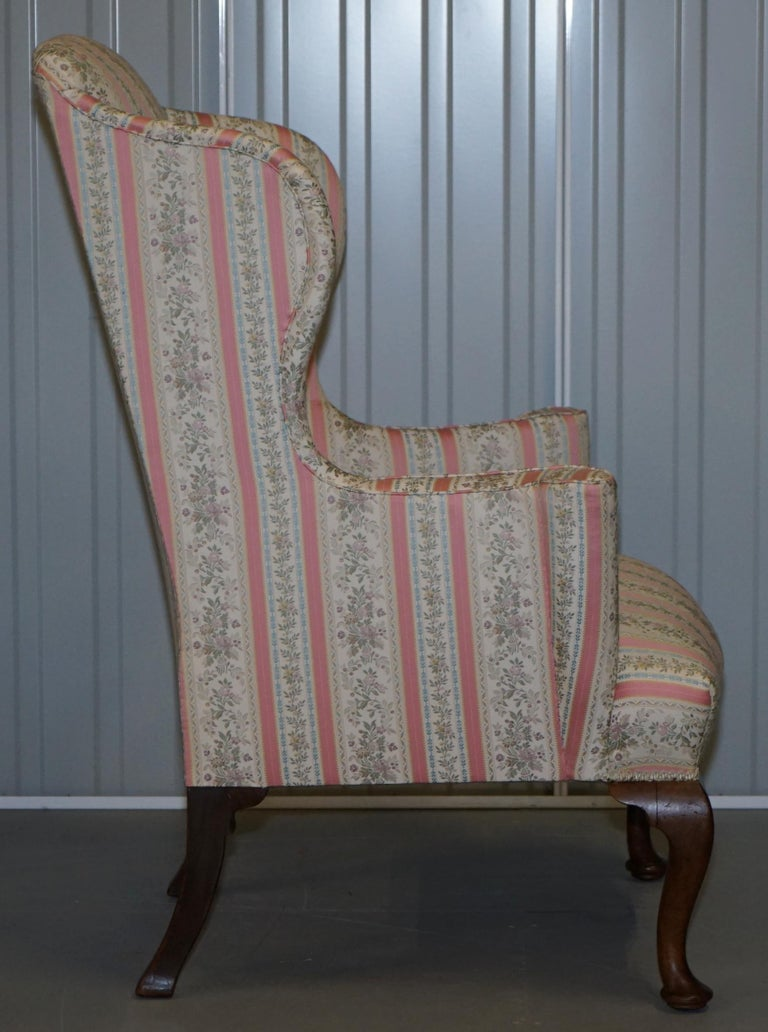 Very Rare Fully Restored Howard & Son's Walnut Wingback Armchair Regency Stripe For Sale 2