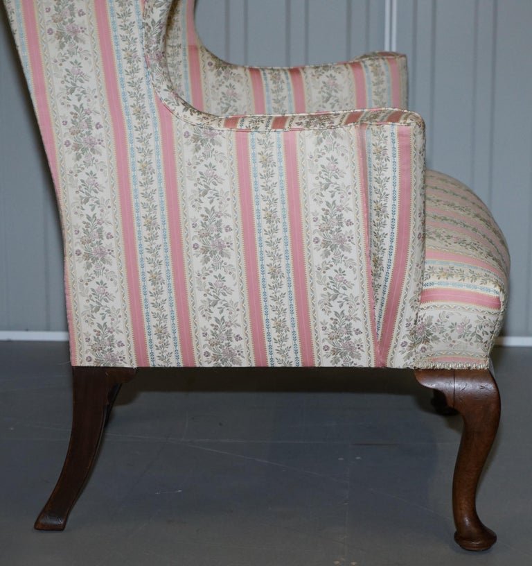 Very Rare Fully Restored Howard & Son's Walnut Wingback Armchair Regency Stripe For Sale 3