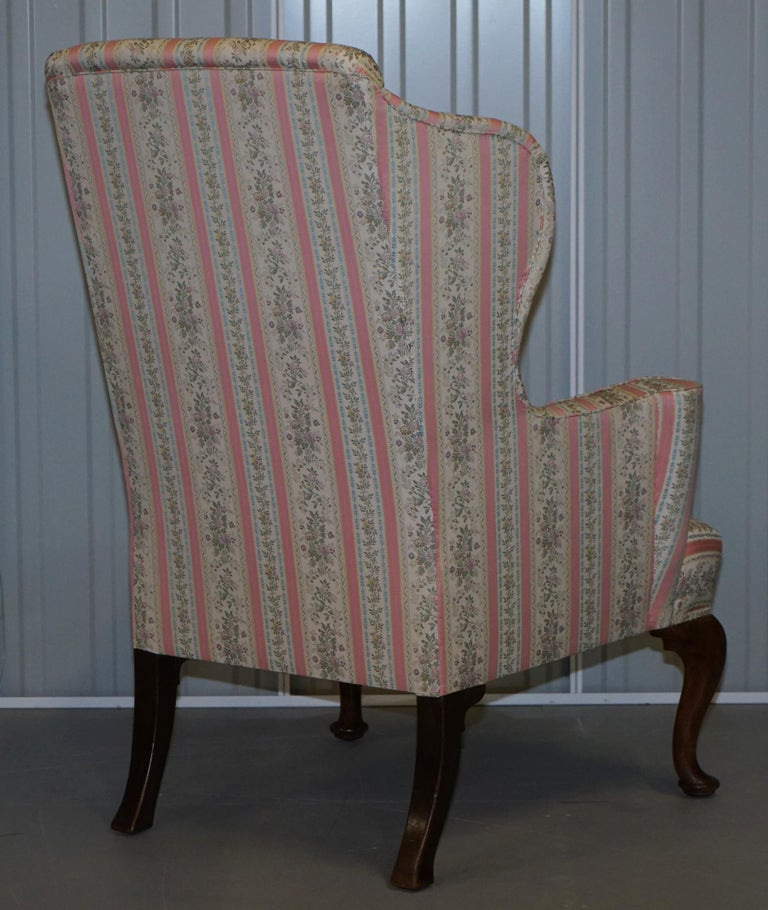 Very Rare Fully Restored Howard & Son's Walnut Wingback Armchair Regency Stripe For Sale 4