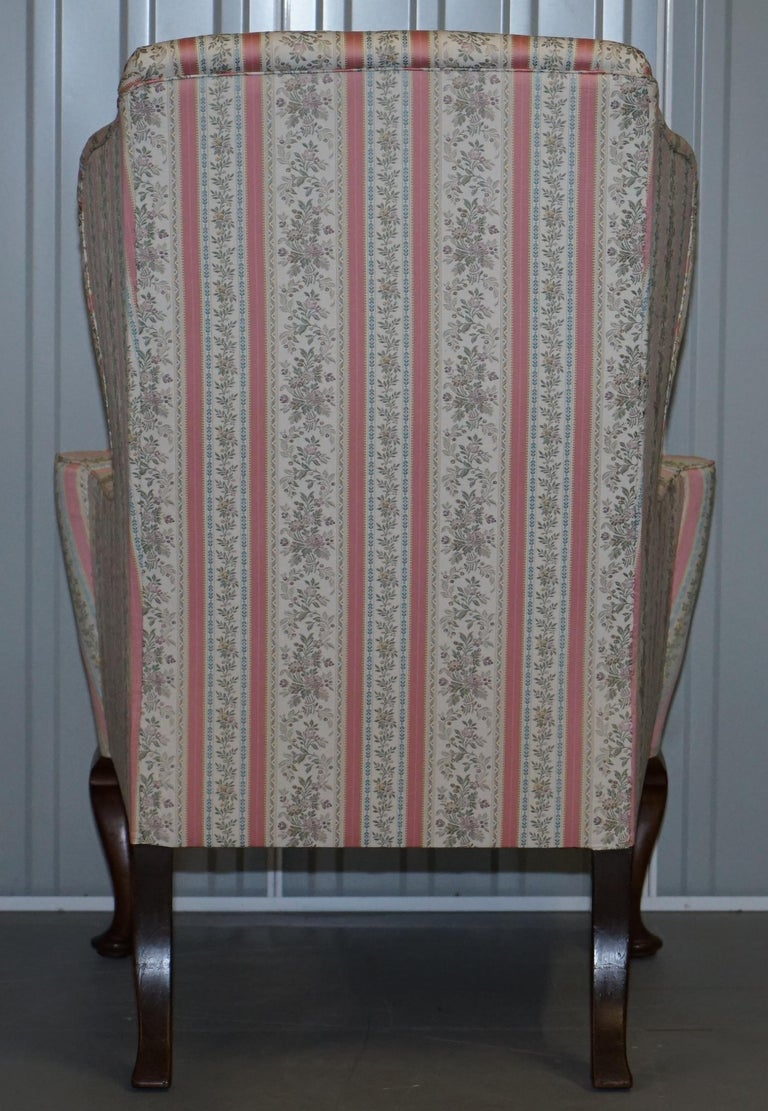 Very Rare Fully Restored Howard & Son's Walnut Wingback Armchair Regency Stripe For Sale 5