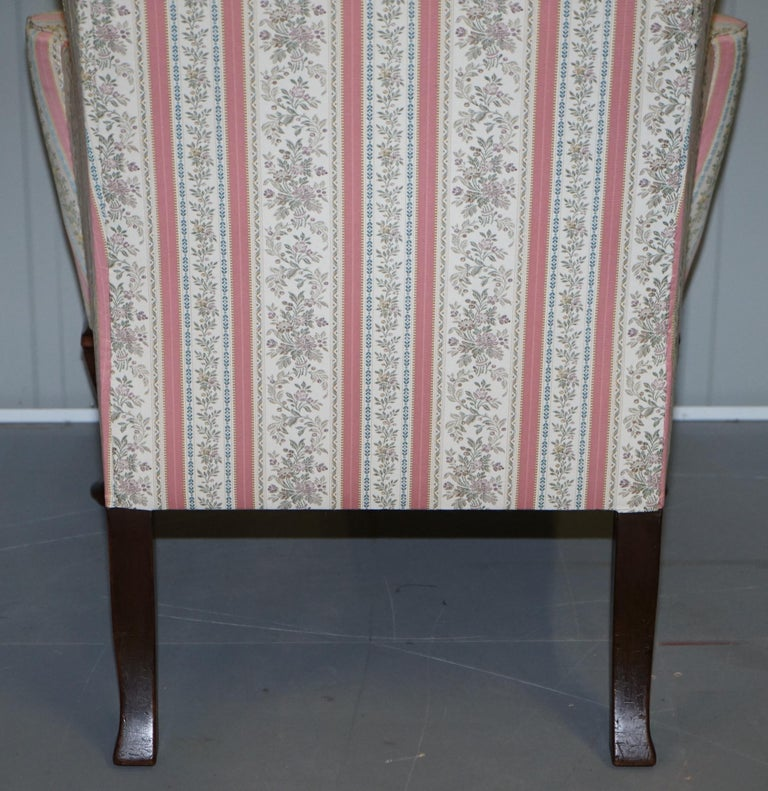 Very Rare Fully Restored Howard & Son's Walnut Wingback Armchair Regency Stripe For Sale 6