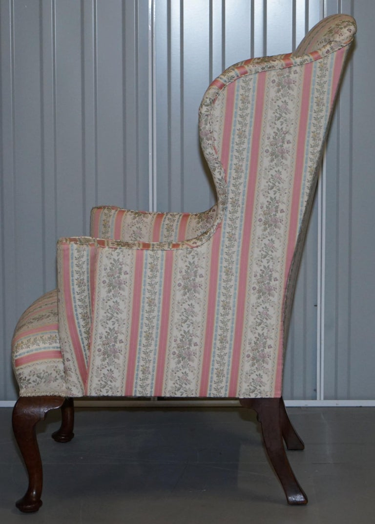 Very Rare Fully Restored Howard & Son's Walnut Wingback Armchair Regency Stripe For Sale 7