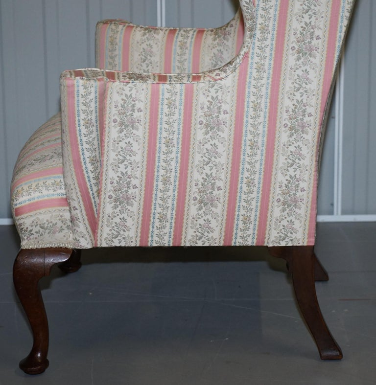 Very Rare Fully Restored Howard & Son's Walnut Wingback Armchair Regency Stripe For Sale 8
