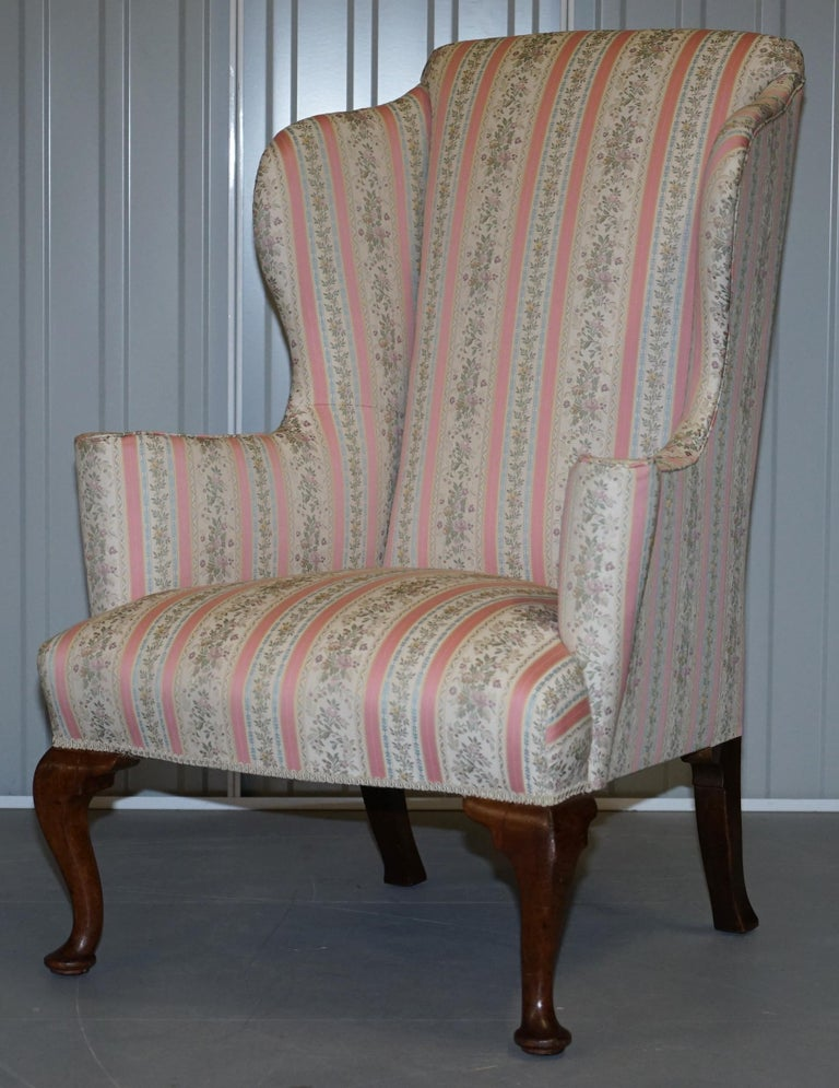 High Victorian Very Rare Fully Restored Howard & Son's Walnut Wingback Armchair Regency Stripe For Sale