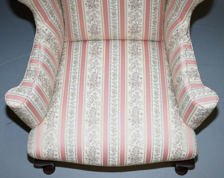 English Very Rare Fully Restored Howard & Son's Walnut Wingback Armchair Regency Stripe For Sale