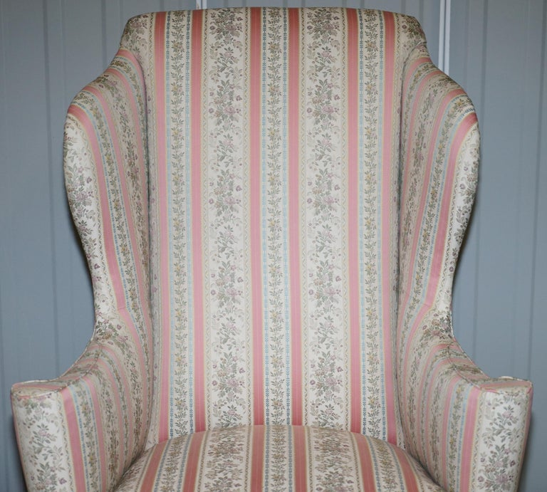 Very Rare Fully Restored Howard & Son's Walnut Wingback Armchair Regency Stripe In Excellent Condition For Sale In London, GB