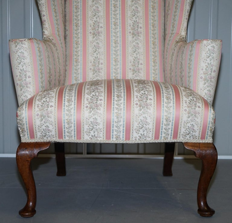 Upholstery Very Rare Fully Restored Howard & Son's Walnut Wingback Armchair Regency Stripe For Sale