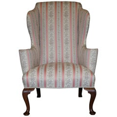 Very Rare Fully Restored Howard & Son's Walnut Wingback Armchair Regency Stripe